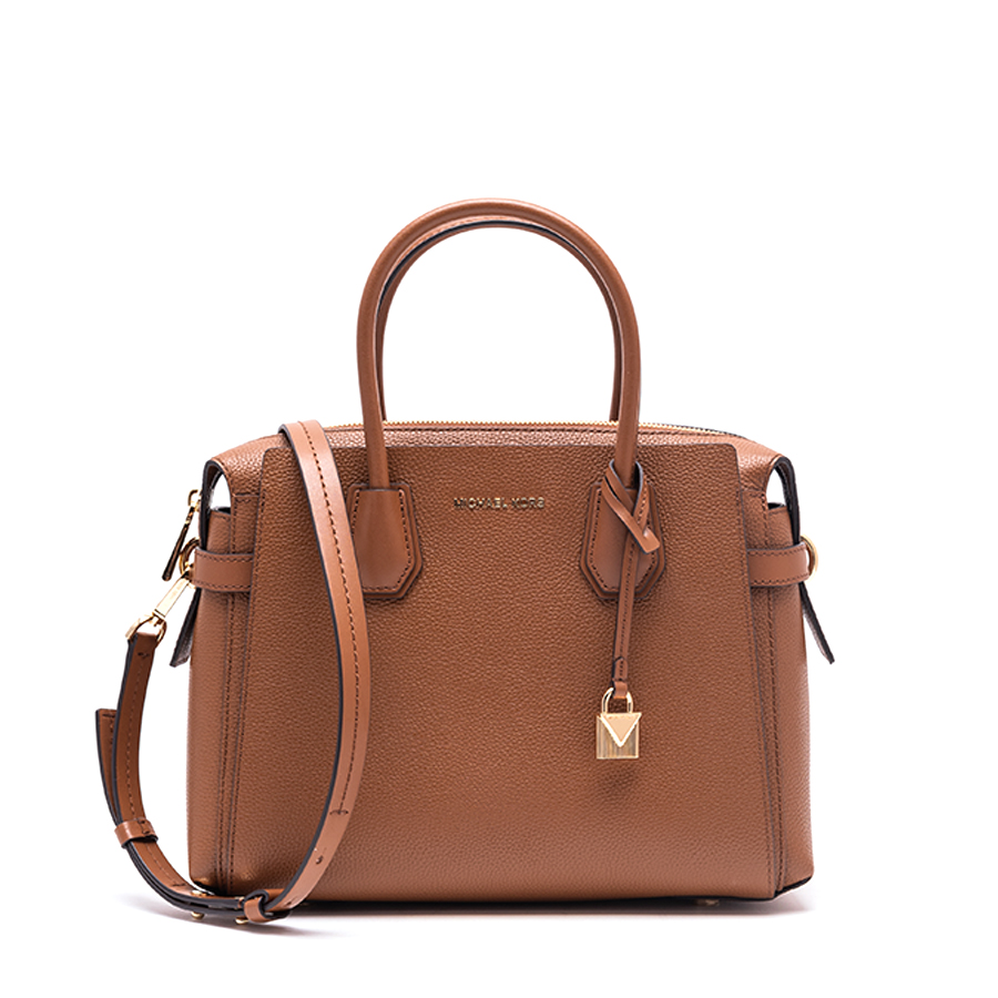 MERCER Medium Belted Satchel - tehlová