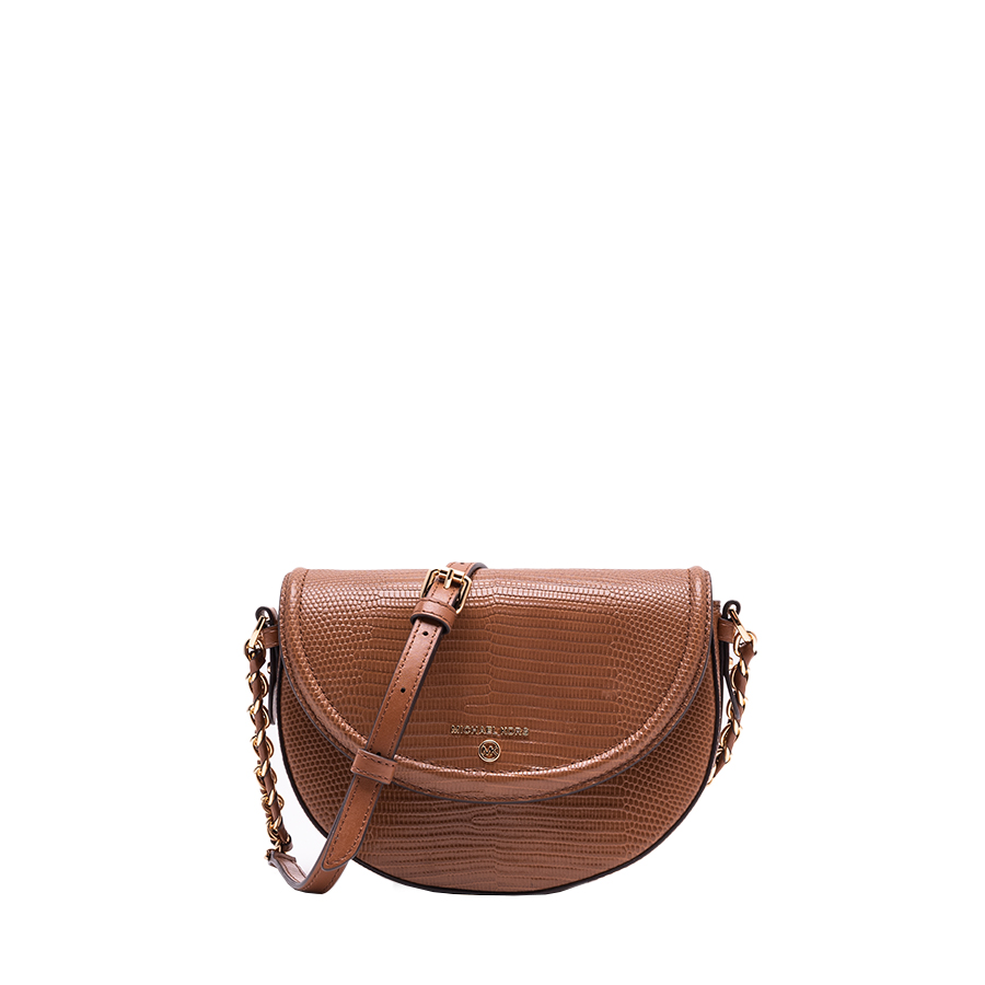 JET SET CHARM Medium Half Dome Chain Crossbody - hnedá