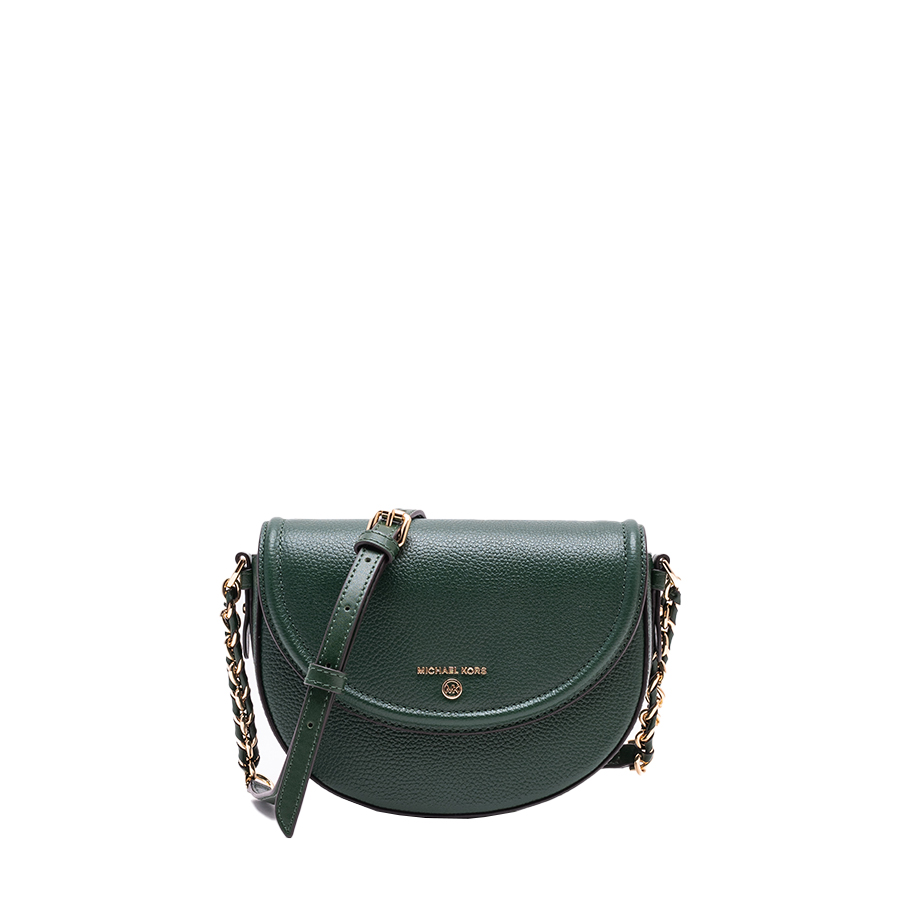 JET SET CHARM Medium Half Dome Chain Crossbody - zelená